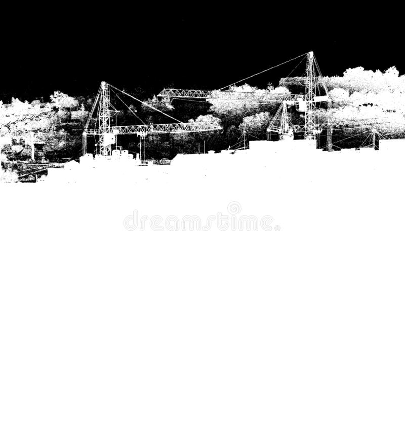 Silhouetten von Hebekranen, neue mehrstöckige Gebäude in monochrome Schwarzweiß-Ausführung Kunstposter stock abbildung