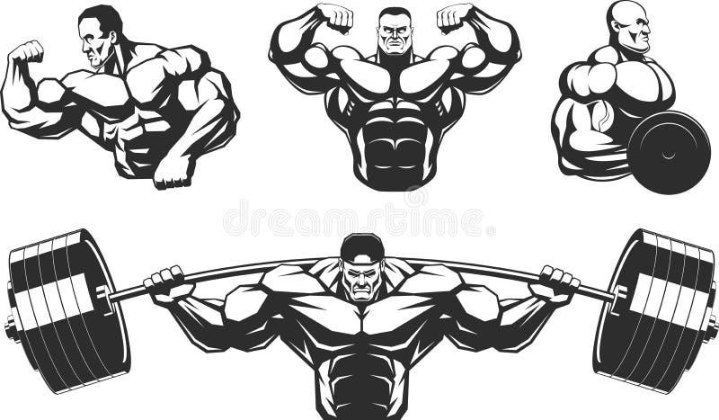 Silhouettenatleten het bodybuilding vector illustratie