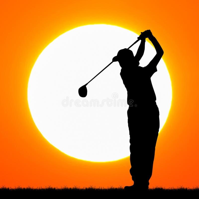 Silhouettengolfspeler met zonsondergang royalty-vrije stock foto