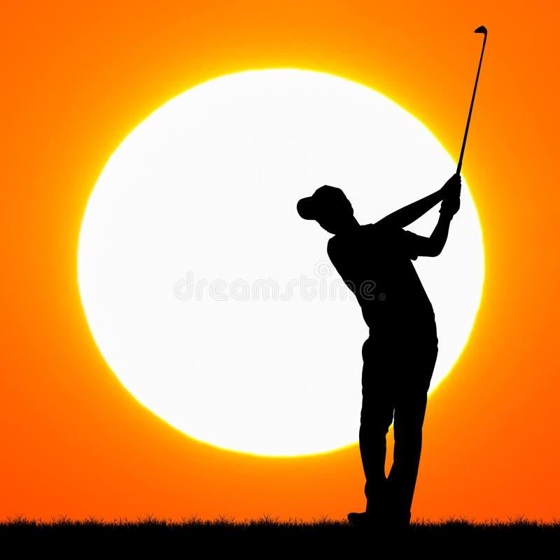 Silhouettengolfspelers met zonsondergang royalty-vrije stock afbeeldingen