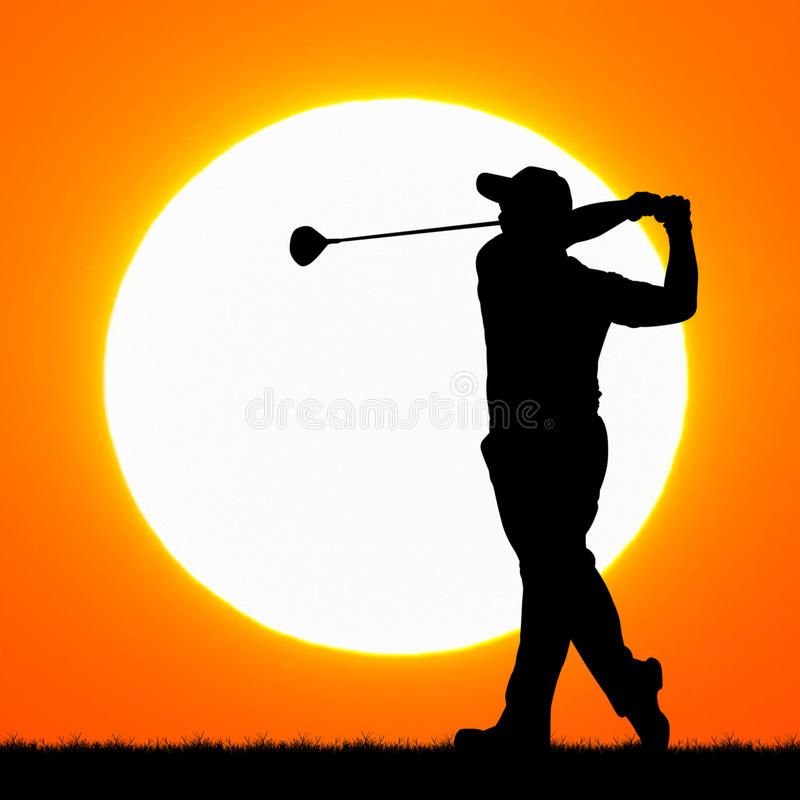 Silhouettengolfspelers met zonsondergang stock foto's