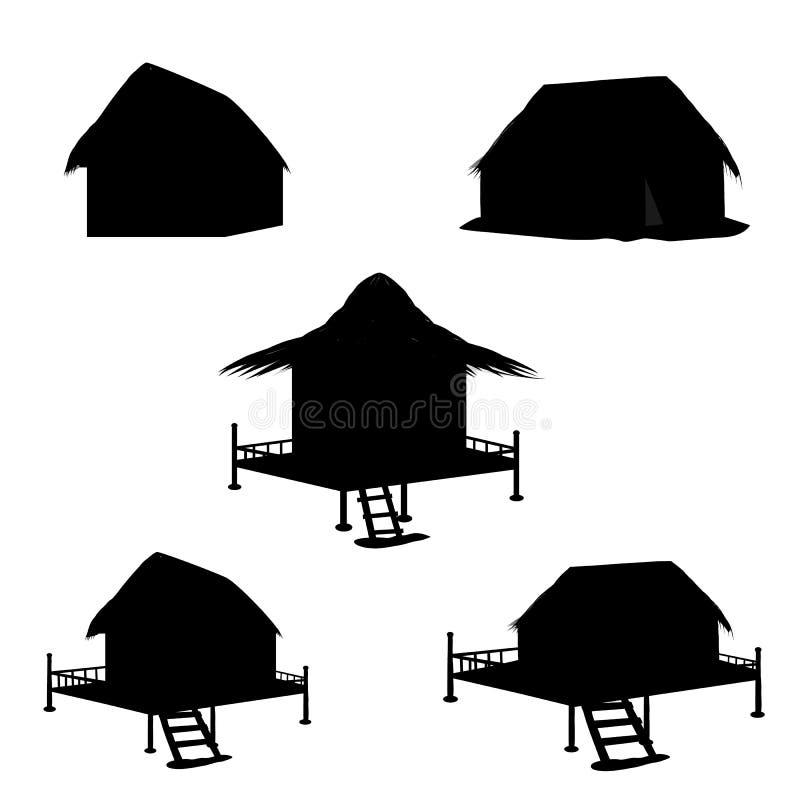 Silhouettenhut stock illustratie