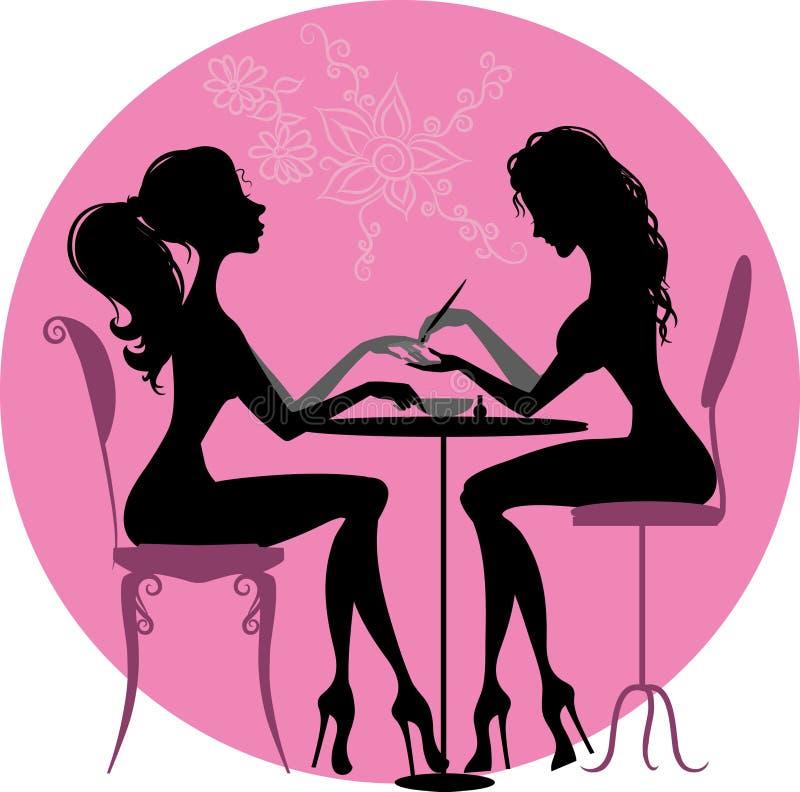 Silhouettenmeisjes in schoonheidssalon royalty-vrije illustratie