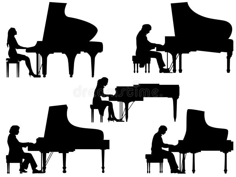 Silhouettenpianist bij de piano stock illustratie