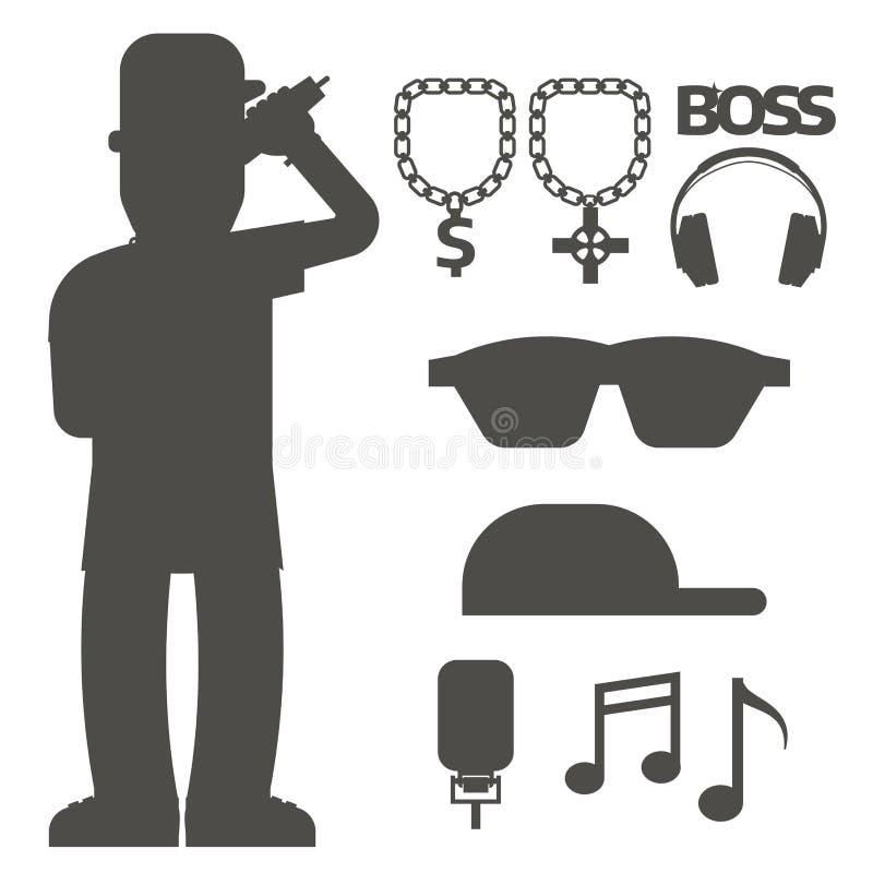 Silhouetteren de bijkomende de musicus vectortoebehoren van de hiphopmens expressieve de tik moderne jonge manier van microfoonbr stock illustratie