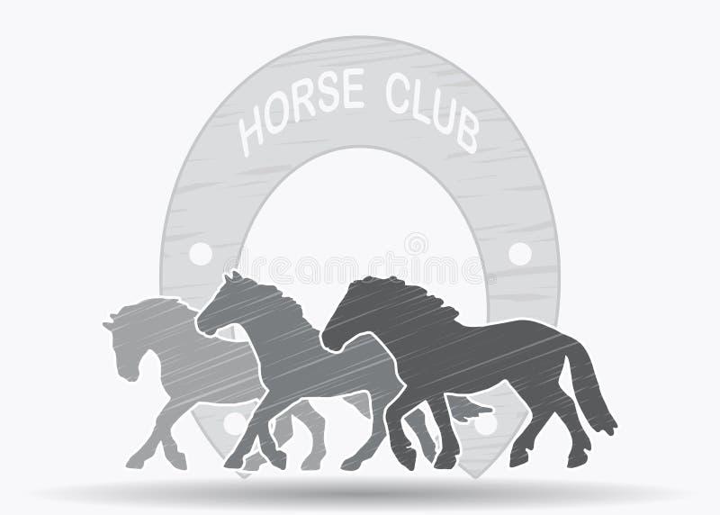 Silhouettes équestres de signe de club des chevaux illustration libre de droits