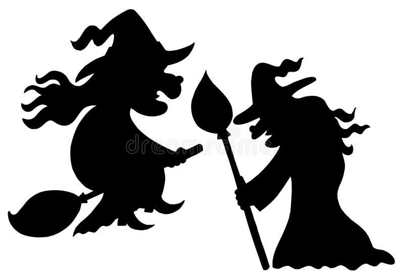 silhouettes ведьма иллюстрация штока