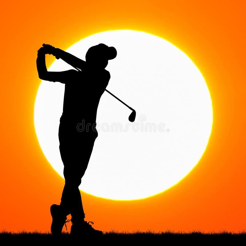 Silhouettes игрок в гольф с заходом солнца стоковое фото
