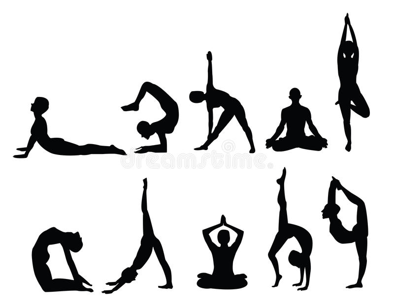 silhouettes йога иллюстрация вектора