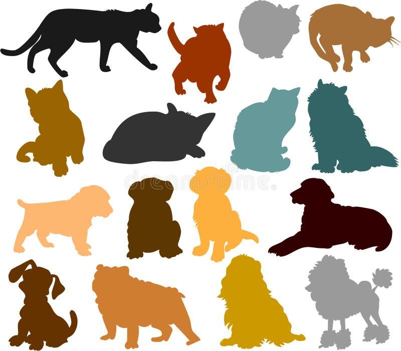 Silhouettes 01 de chat et de crabot illustration libre de droits
