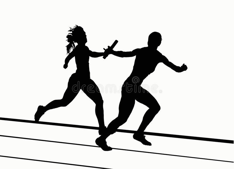 Silhouettes - 4x400 Relay stock photography