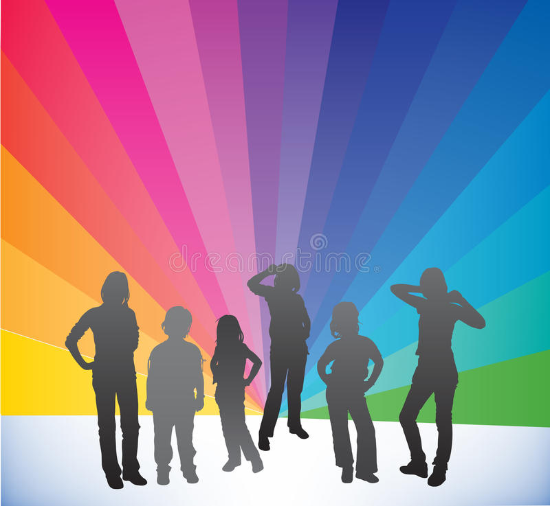 Silhouettes. Vector illustration of kids silhouettes royalty free illustration