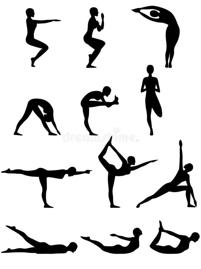 Silhouettes abstraites des poses femelles de yoga illustration libre de droits