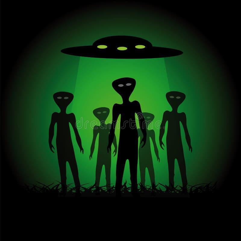 Silhouettes of aliens stock illustration