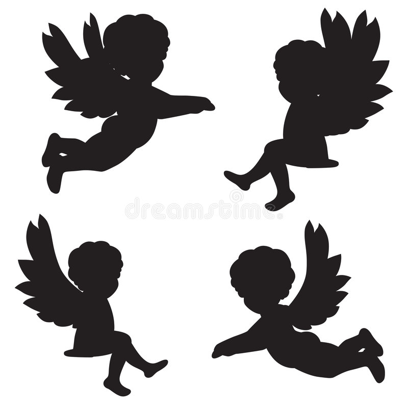 Silhouettes of angels royalty free illustration