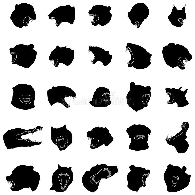 Silhouettes animales de mâchoires réglées illustration libre de droits