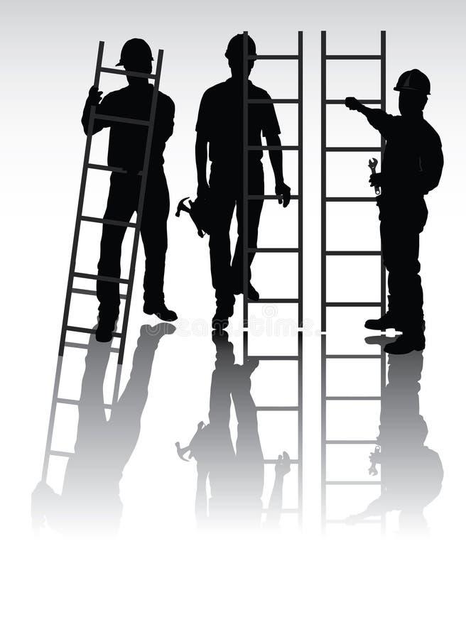 silhouettes arbetare stock illustrationer