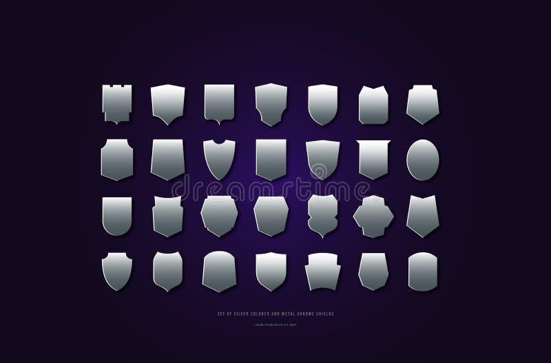 Silhouettes argentées de coloration de vecteur courant et en métal de chrome de boucliers illustration stock