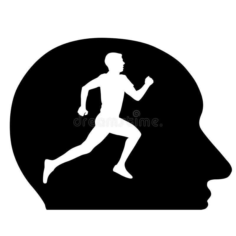 Silhouettes, athlète courant dans ma tête, l'idée conceptuelle. le VE illustration de vecteur
