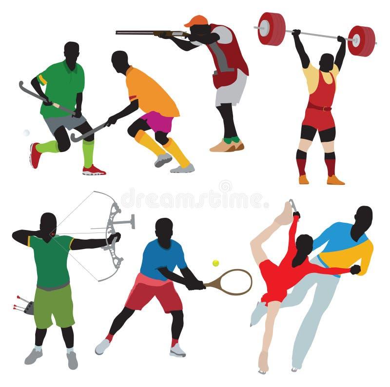 Silhouettes athlete stock illustration