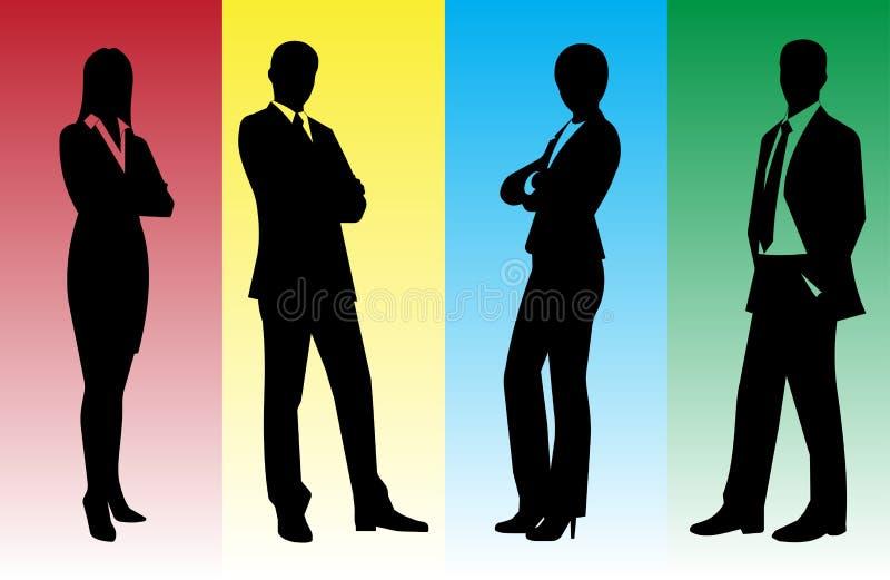 Silhouettes av affärsmän royaltyfri illustrationer