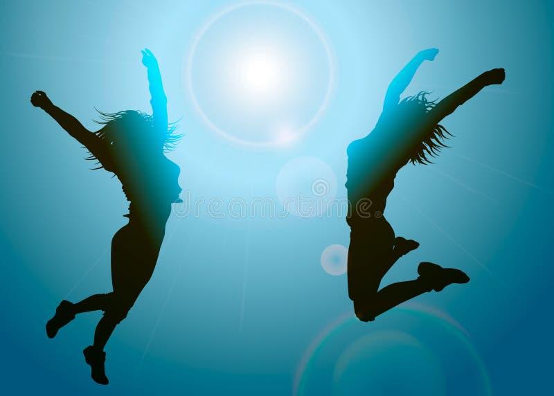 Silhouettes av banhoppningflickor stock illustrationer