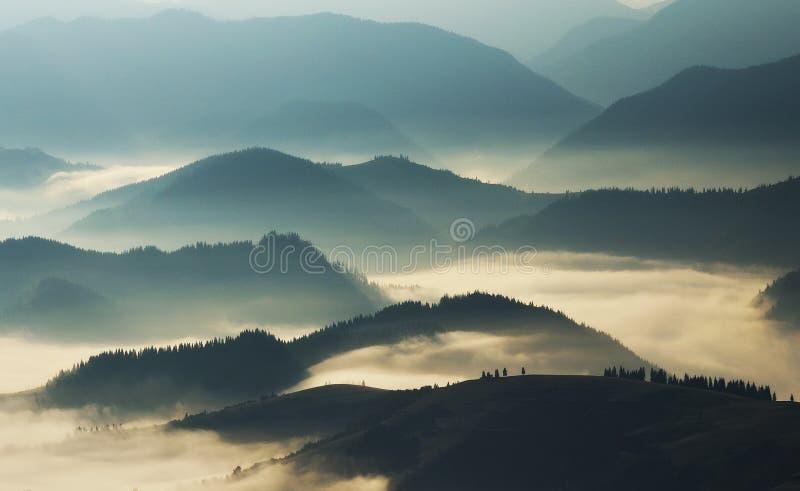Silhouettes av berg Höstmorgon i de Carpathian bergen royaltyfri bild