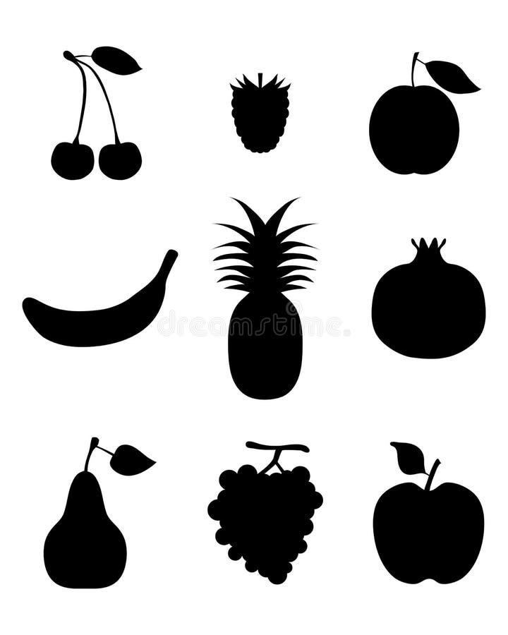 Silhouettes av frukt stock illustrationer