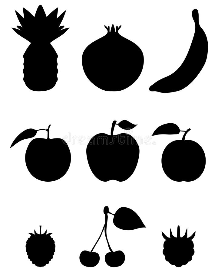 Silhouettes av frukt vektor illustrationer