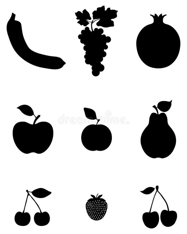 Silhouettes av frukt royaltyfri illustrationer