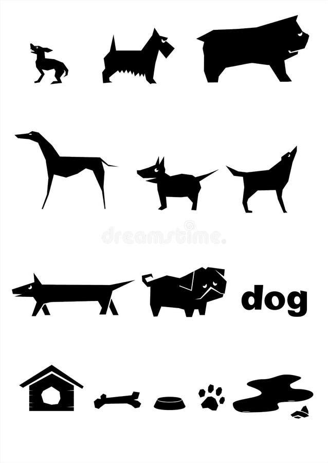 Silhouettes av hundar stock illustrationer
