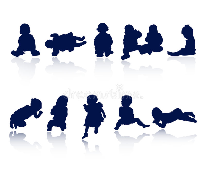 Download Silhouettes - baby stock vector. Image of outline, toddler - 9193242