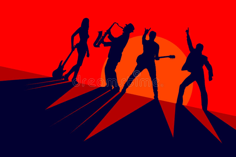 Silhouettes of a band of musicians on a red background royalty free illustration
