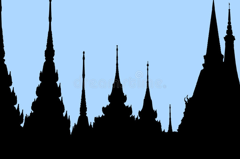 Silhouettes of Bangkok temples royalty free stock images