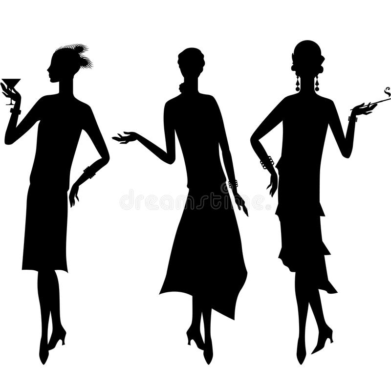 Silhouettes of beautiful girl 1920s style stock illustration