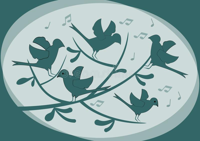 Silhouettes of birds sitting on a branch and singing, abstract illustration in dark green on light background, moody fantasy image. Vector EPS10 vector illustration