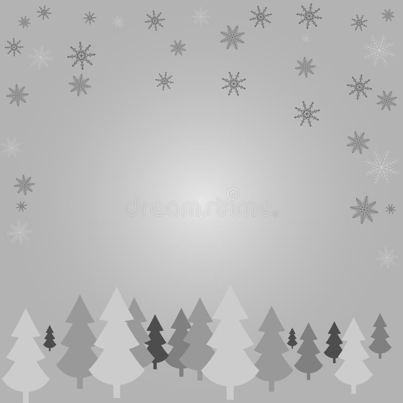 Silhouettes blanches des arbres sur un fond gris illustration libre de droits