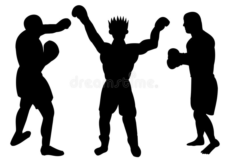 Silhouettes of boxers royalty free stock photography