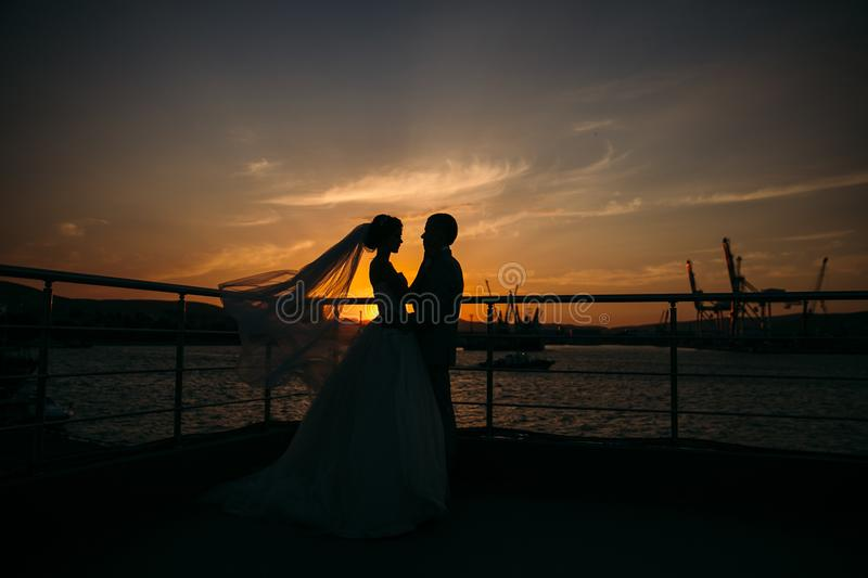 Silhouettes of bride and groom standing on night city background and tenderly looking at each other at sunset. Concept. Of love and family, newlyweds at wedding royalty free stock image