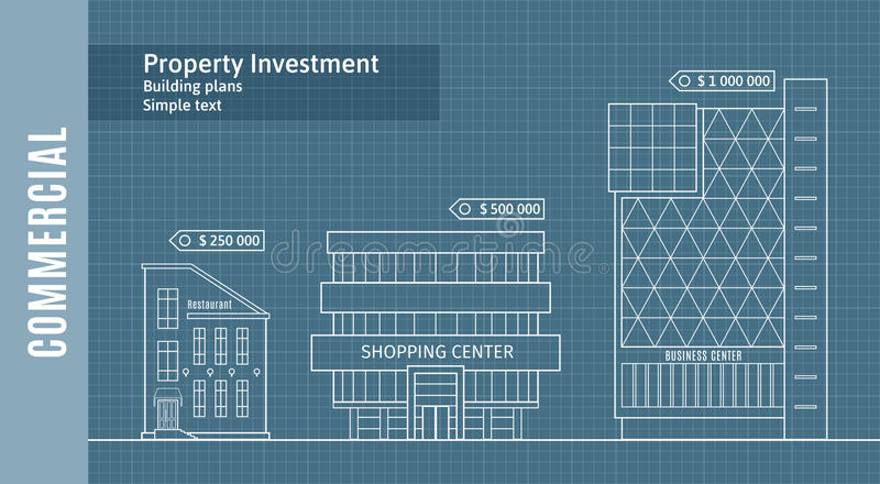 Silhouettes of buildings on the drawing paper, Commercial Real Estate Infographics . royalty free illustration