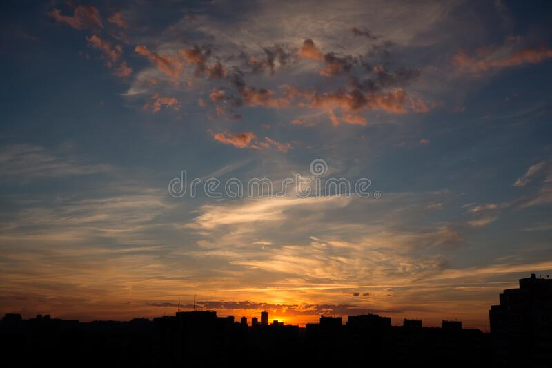 Silhouettes of Buildings during Golden Hour stock images