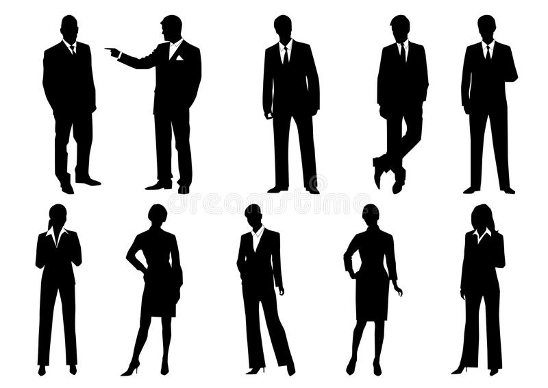 Silhouettes of business men and women royalty free illustration
