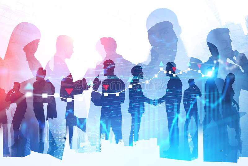 Silhouettes of business partners, digital charts. Silhouettes of diverse business people working together in modern city with double exposure of forex graphs royalty free stock photos
