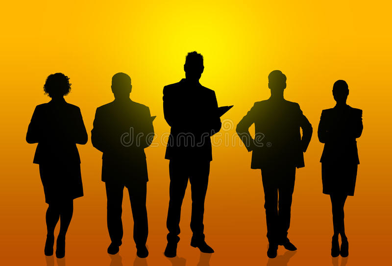 Silhouettes of business people. Against bright background stock illustration