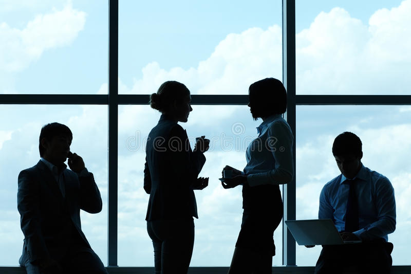 Silhouettes of business people royalty free stock images