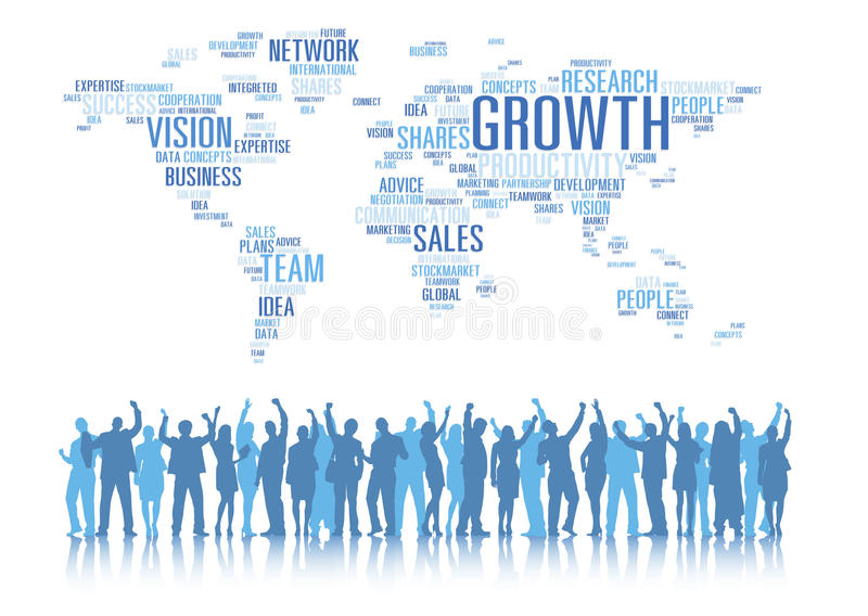 Silhouettes of Business People Arms Raised and Global Business C vector illustration