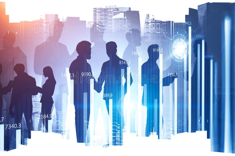 Silhouettes of business people in city, graphs. Silhouettes of diverse business people working together in modern city with double exposure of digital graphs and stock photos