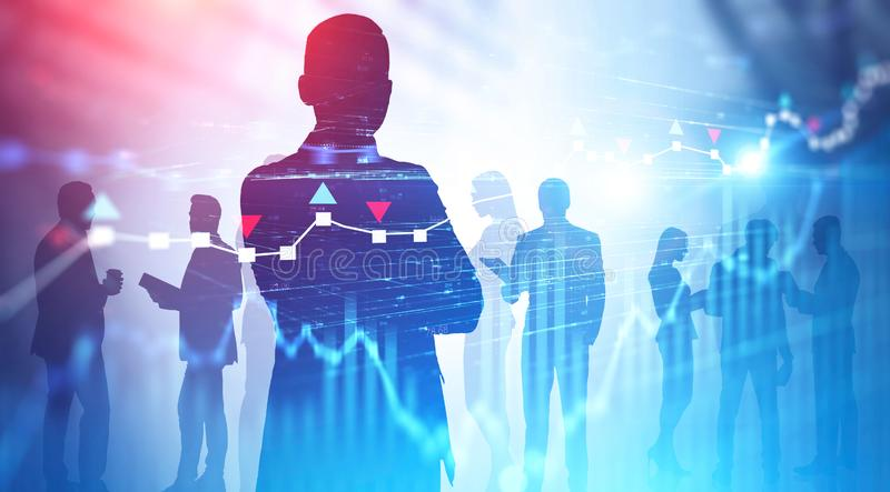 Silhouettes of business people, diagrams royalty free stock photos