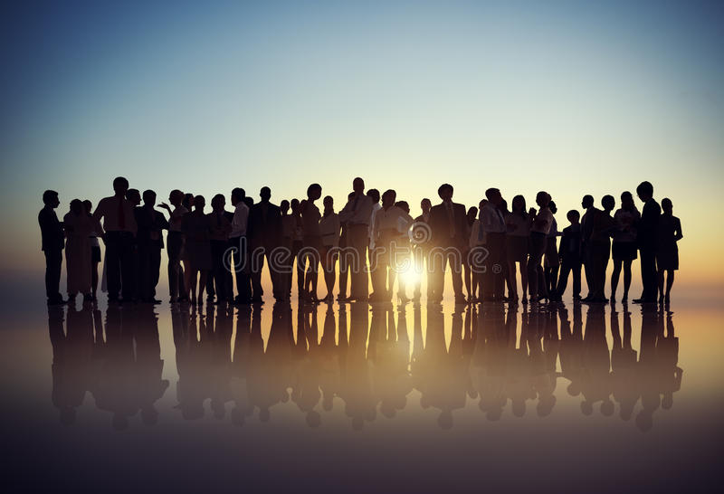 Silhouettes of Business People Gathering Outdoors royalty free stock images