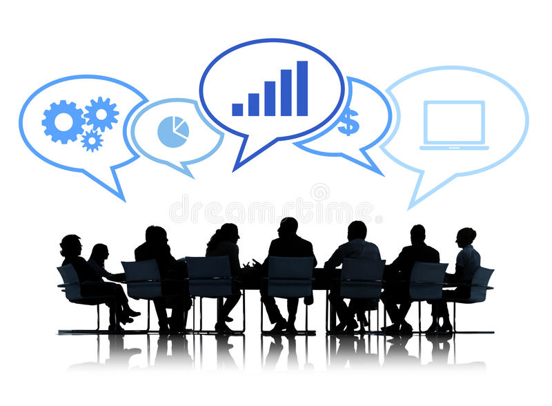 Silhouettes of Business People Having a Meeting royalty free illustration